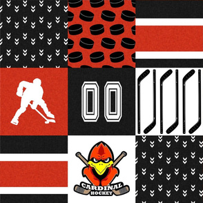 Cardinal Hockey - Wholecloth Cheater Quilt