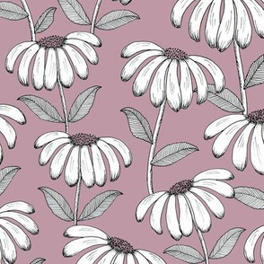 Sketchy Daisies - mulberry