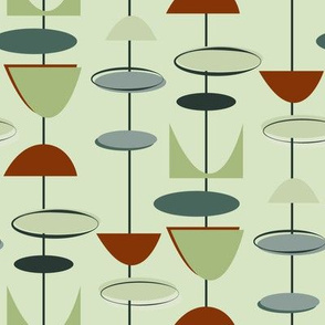 Mid century modern geometric-green