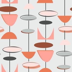 Mid century modern geometric-pink and grey