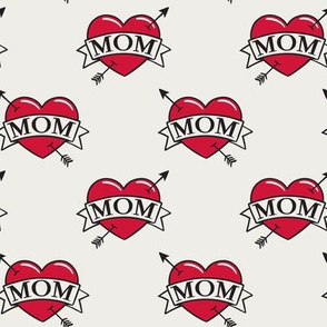 mom heart tattoo - red