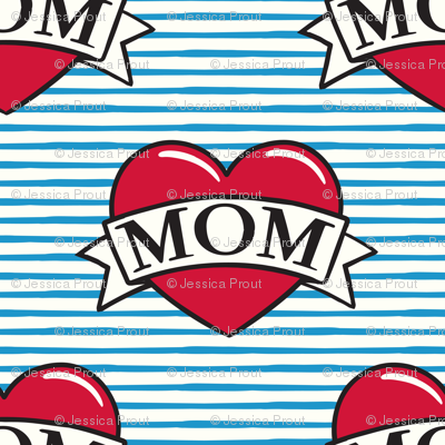 mom heart tattoo - red on blue stripes