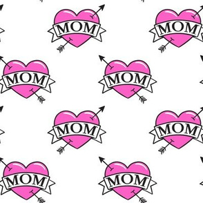 mom heart tattoo - pink