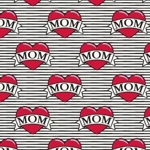 mom heart tattoo - red on stripes