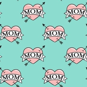 mom heart tattoo - pink on teal