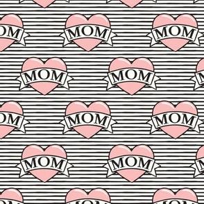 mom heart tattoo - pink on stripes