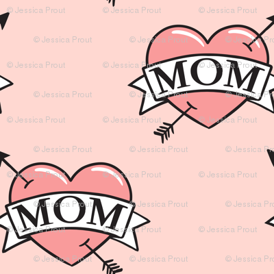 mom heart tattoo - pink on pink