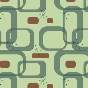 Mid century modern green rectangles