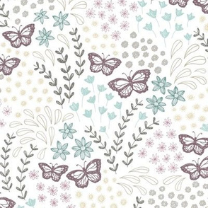 Ditsy Butterfly Floral - mulberry/seafoam
