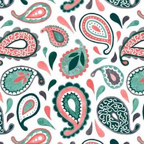 Filigree Paisley - teal/coral