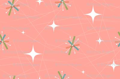 Mid century modern starburst pink