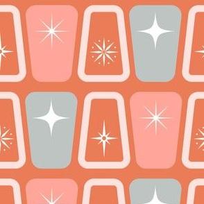 Mid century modern starbursts pink