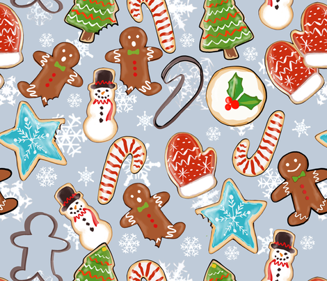 Yummy Cookie Christmas fabric by jacquelynbizzottodesign on Spoonflower - custom fabric