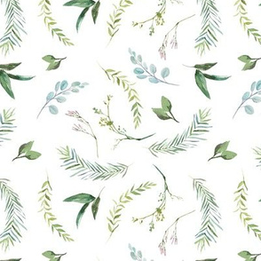 Green Leaves Eucalyptus and Blush Pink Blossom Pattern | Summer Greenery Collection K075