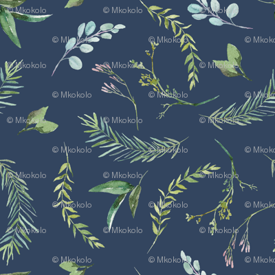 Green Leaves and Eucalyptus on Navy Blue Pattern | Summer Greenery Collection K075