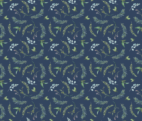 Green Leaves and Eucalyptus on Navy Blue Pattern | Summer Greenery Collection K075 fabric by mkokolo on Spoonflower - custom fabric