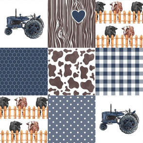 Farm//Love you till the cows come home//Hereford&Angus/Blues//Gingham - Wholecloth Cheater Quilt