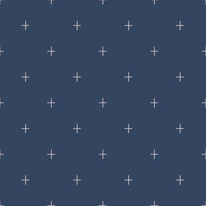 Navy Blue and Blush Pink Plus Sign Pattern K075