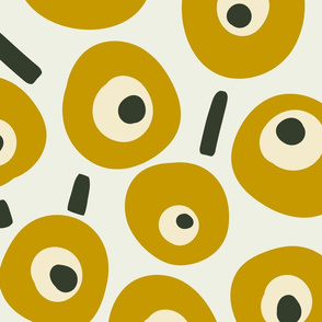 Birds eye view - mustard - for wallpaper