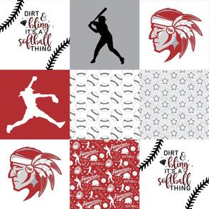 Dirt & Bling//Softball//Warriors - Wholecloth Cheater Quilt
