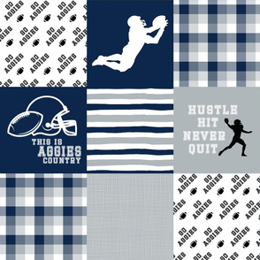 Football//Hustle Hit Never Quit//Aggies - Wholecloth Cheater Quilt