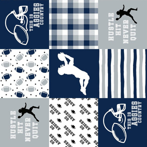 Football//Hustle Hit Never Quit//Aggies - Wholecloth Cheater Quilt - Rotated