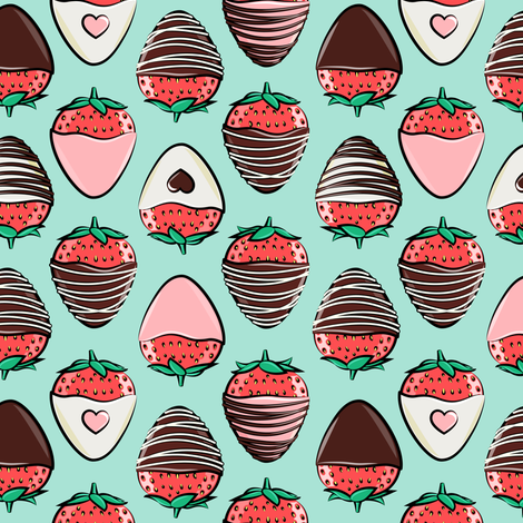 chocolate covered strawberries - aqua fabric by littlearrowdesign on Spoonflower - custom fabric