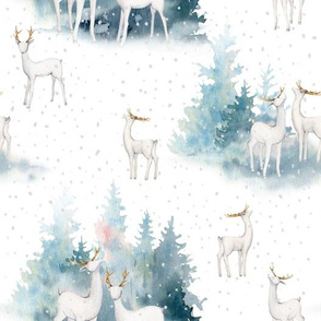 "10"" Winter Wonderland - Watercolor Hand drawn Animals in Forest"