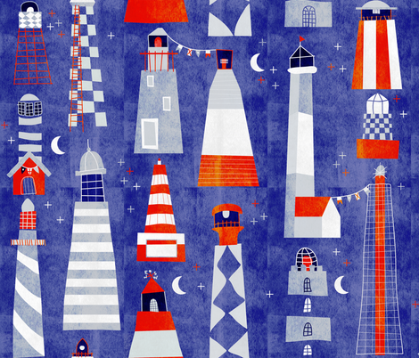 scandi lighthouse fabric by booboo_collective on Spoonflower - custom fabric