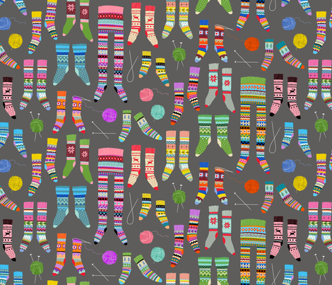 Fancy Fair Isle Feet (small scale on grey) fabric by cerigwen on Spoonflower - custom fabric