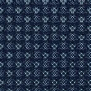 Indigo Pattern Patchwork Style Geometric Grid