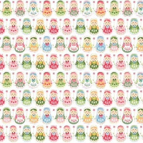matryoshka russian dolls, pink, green