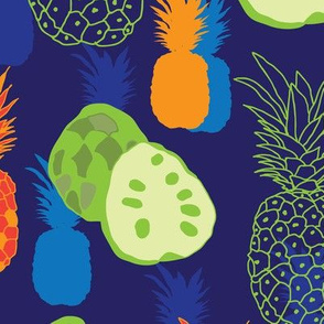 Pineapple and Anona-Fruit Delight. Seamless Repeat Pattern illustration.