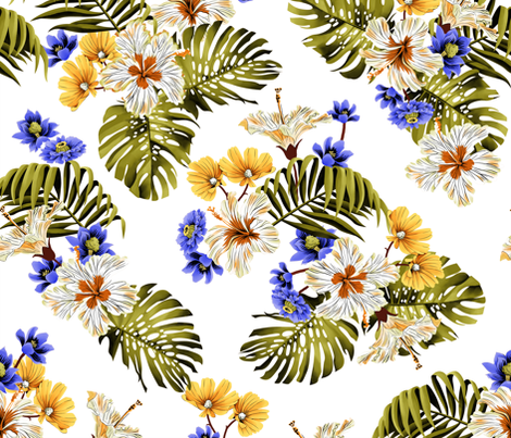 North Shore Floral - White fabric by meganpalmer on Spoonflower - custom fabric
