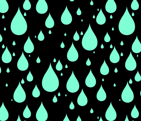 Black Background Aquamarine Blue Green Color Rainy Day Waterdrops fabric by artpics on Spoonflower - custom fabric