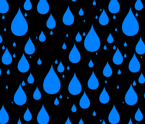 Black Background Azure Blue Color Rainy Day Waterdrops fabric by artpics on Spoonflower - custom fabric