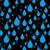 Black Background Blue Color Rainy Day Waterdrops