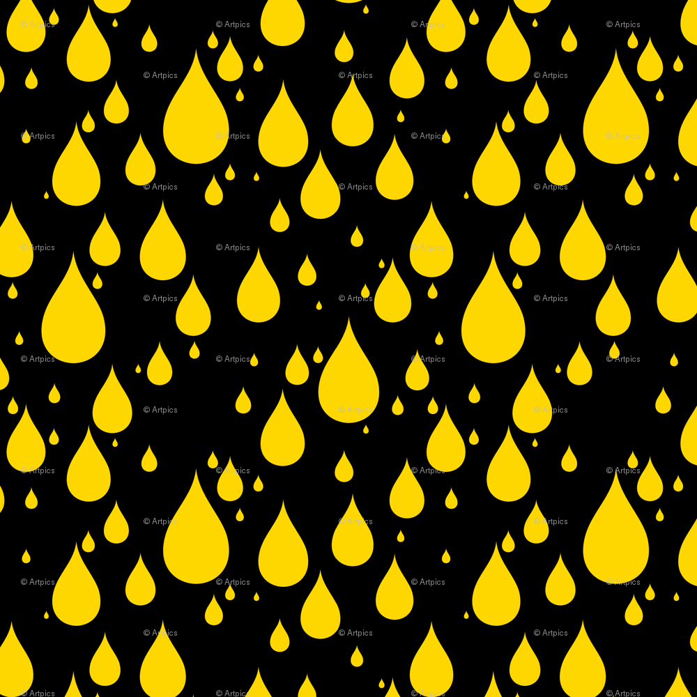 Black Background Gold Yellow Color Rainy Day Waterdrops