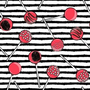 Cake pops - red on black stripes