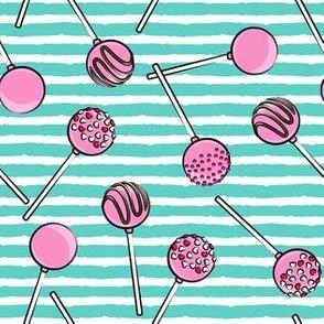 Cake pops - teal stripes 2