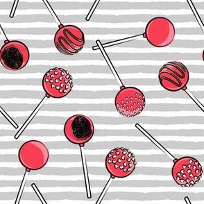 Cake pops - red on grey stripe
