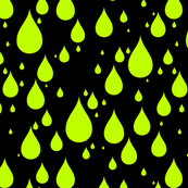Black Background Lime Green Color Rainy Day Waterdrops