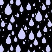 Black Background Periwinkle Light Blue Color Rainy Day Waterdrops