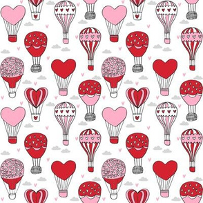 SMALL  - valentines hot air balloon // cute hearts balloons fabric nursery baby white red