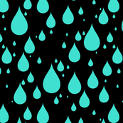 Black Background Turquoise Color Rainy Day Waterdrops