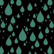 Black Background Viridian Deep Blue Green Color Rainy Day Waterdrops