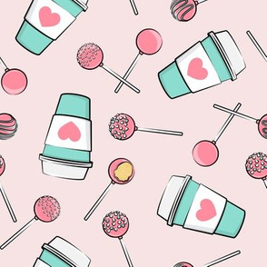 Cake Pops & Coffee - pink & teal on pink