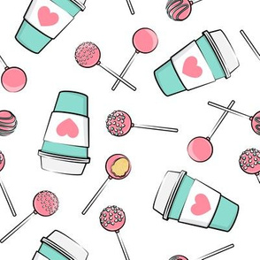 Cake Pops & Coffee - pink & teal on white