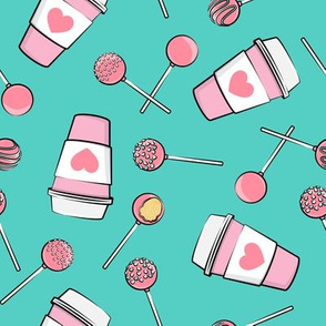 Cake Pops & Coffee - pink & teal on teal
