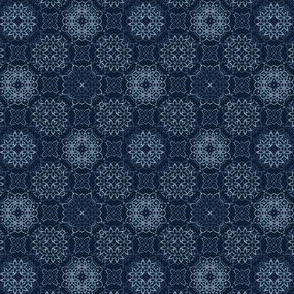 Traditional Indigo Blue Japanese Lace Quilt
